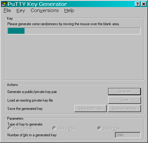 Screenshot des Programmes keygen von PuTTY